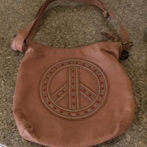 The Sak shoulder purse with peace symbol-nice